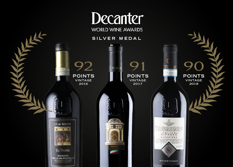 Tre medaglie d'argento ai Decanter World Wine Awards